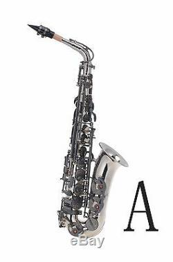 100% New Professional Eb Silver Nickel Matt Black Key High F# Alto Saxophone