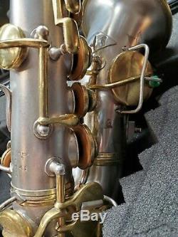 1922 C. G. CONN NEW WONDER I Bb CURVED SILVER & GOLD Virtuoso Deluxe SOPRANO SAX