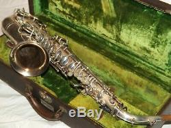 1932 Buescher New Aristocrat Alto Saxophone, Original Silver, Plays Great
