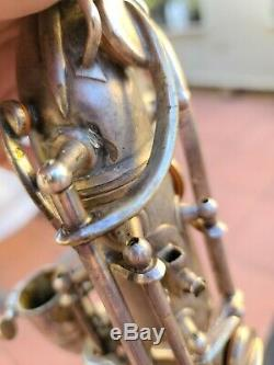 1953 Conn 12m Naked Lady Silver Plated Baritone Saxophone