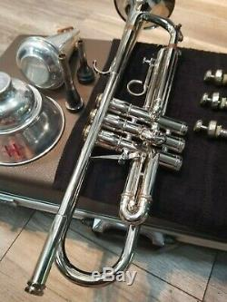 1960's Vintage Silver Olds Fullerton Studio Professional Trumpet With Case