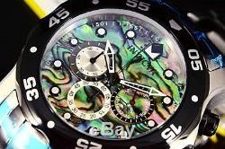 24837 Invicta Pro Diver Scuba Blue Green Abalone Dial Chrono SS Band Watch NEW