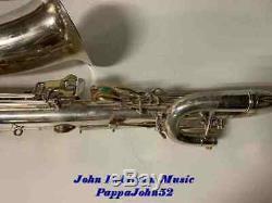 BUESCHER 400 Eb BARI SAX Baritone Saxophone RESTORED Orig Silver Finish 1976