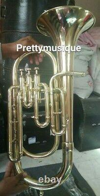 Baritone New Of Pure Brass In Brass Polish + Case Box & Mouthpc + Free Shipping