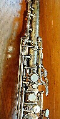 Beautiful Vintage 1914 Frank Holton Bb Soprano Saxophone Orig. Silver Plating