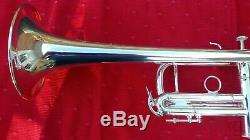 Besson Meha Trumpet, silver plate, key of C, built by Kanstul. Includes case