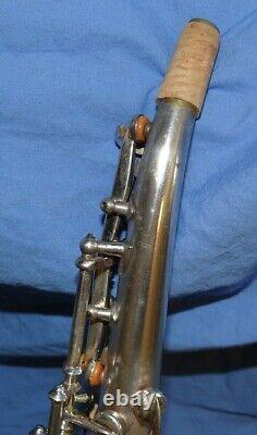 Buescher Tipped Bell Bb SILVER PLATED Soprano Sax VERY RARE