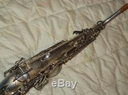 Buescher True Tone Alto Saxophone #230XXX, Original Silver Plate, Plays Great
