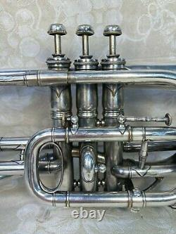 C G Conn Silver Cornet 1902 The Wunder Model with Case, Mouthpiece and Baffle