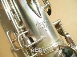 CONN SILVER PLATED Eb ALTO SAXOPHONE CIRCA 1928 EXCEPTIONALLY NICE ORGL COND