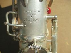 CONN SILVER PLATED Eb ALTO SAXOPHONE CIRCA 1929 EXCEPTIONALLY NICE ORGL COND