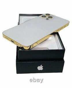 CUSTOM 24K Gold Plated Apple iPhone 12 Pro 128 GB Silver Unlocked CDMA GSM