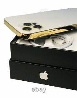 CUSTOM 24K Gold Plated Apple iPhone 12 Pro 512 GB Silver Unlocked CDMA GSM