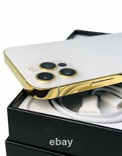 CUSTOM 24K Gold Plated Apple iPhone 12 Pro MAX 128 GB Silver Unlocked