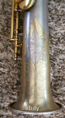 Conn New Wonder II Bb Soprano Saxophone 1929 Silver Plate Gold Plated Keys 226k