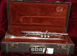 F. E. Olds Custom Crafted model Bb trumpet with case silverplated. #848216