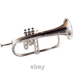 FLUGELHORN CHROME FINISH BB WithCASE GREAT SOUND BRASS MADE FREE SHIPPING