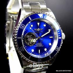 Invicta Blue Pro Diver Open Heart Skeleton Automatic Stainless Steel Watch New