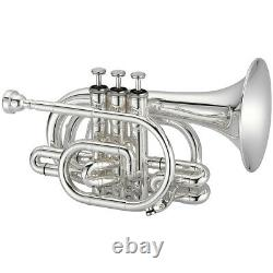 Jupiter 700 Series JTR710S Key of Bb Silver Plated Body Pocket Trumpet with Case