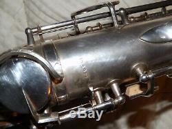 King Zephyr Alto Saxophone #188XXX, Original Silver Plate, Plays Great, Nice