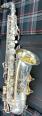 NearMint Conn 6M VIII Naked Lady RARE silver-plate rolled tone hole pro alto sax