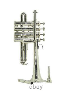 New Piccolo Trumpet 4 Silver Piston Horn Bb/A 2 Lead pip Mouthpiece YUKC178