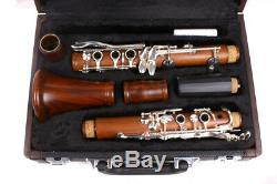 New Professional Clarinet Rosewood Wooden Body Silver Plated Bb Key 17 key #4