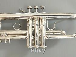Nice Silver Plated Bach Stradivarius Model 37 Professional Trumpet w Bach Case