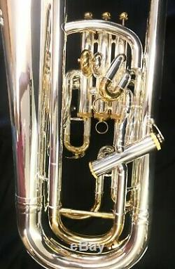 Pro Silver Plated withgold trim Compensating Euphonium 3 + 1 mouthpiece & Case