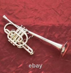 Prof Marching Trumpet Monel Piston Bb Silver Plated Horn With Case