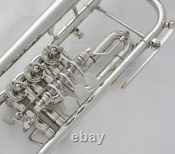Prof. Silver Nickel Plated 3 Rotary Valves Trumpet Bb Key New Horn With Case