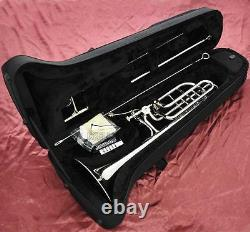 Prof Silver nickel Plating Bass Trombone Double Rotor Horn Bb/F/Eb&Bb/F/D/Gb Key