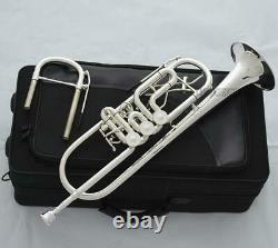 Professional Bb Rotary Trumpet Silver Plated 1st/3rd valve trigger + Soprano Key