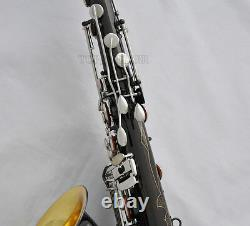Professional Black Nickel Silver Tenor Saxophone Bb Sax Gold Bell With New Case