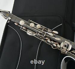 Professional Black Silver Nickel Tenor sax Saxophone High F# With Case