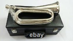 Professional British Army Bugle Silver Plated, Tunable Mouthpiece Carrying Case