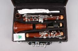 Professional Clarinet Rosewood Bb 17 Keys Silver plated B-flat Solid wood