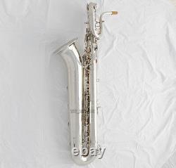 Professional Eb Baritone Saxophone Silver Nickel Sax 2 Necks Germany Mouthpiece
