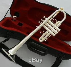 Professional Eb/D Trumpet Silver Horn Monel Valve + Gold Plated Mouth WithCase