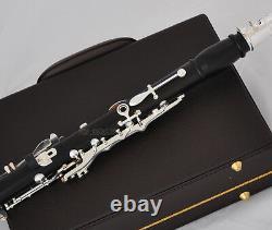Professional Ebony Wooden Bb Clarinet Silver Plated 19 key Italian pad With Case