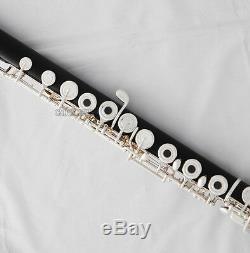 Professional Ebony Wooden Flute Silver Key B Foot European headjoint With Case