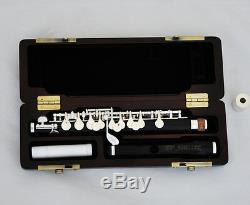 Professional Ebony Wooden Piccolo Flute Silver Plated C Key Split E Wood Case