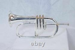 Professional Flugelhorn 3 Valves Silver Plated with Hard Case & Mouthpiece