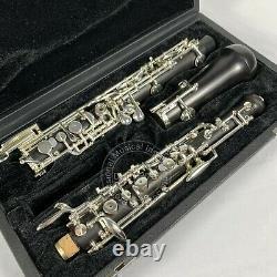 Professional Grenadilla Ebony Wooden Oboe C Key Silver Plated With Case