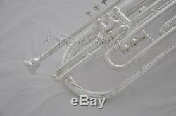 Professional JINYIN Silver plated Marching Trombone Bb Horn Cupronickel Valve