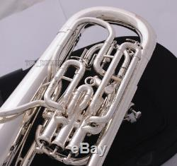 Professional New Bb Trigger Compensating Euphonium Silver Plated Wheels Case