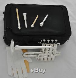 Professional New Silver Piccolo Trumpet 4 Piston Horn Bb/A 2 Leadpipe Mouthpiece