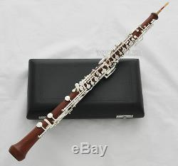 Professional Rose Wooden Body Oboe Silver Plated C Key With Case