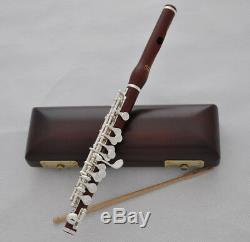Professional Rose wooden silver plated key PICCOLO flute C Tone with wood case