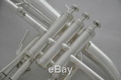 Professional Silver Flugel horn Monel Valves Bb Flugelhorn with Trigger + case